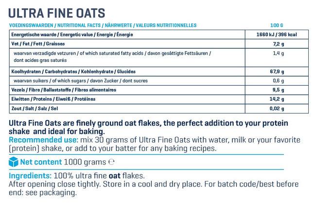 Ultra Fine Oats Nutritional Information 3