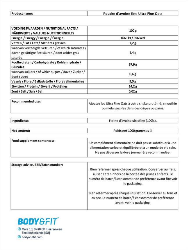 Poudre d'avoine fine Ultra Fine Oats Nutritional Information 1