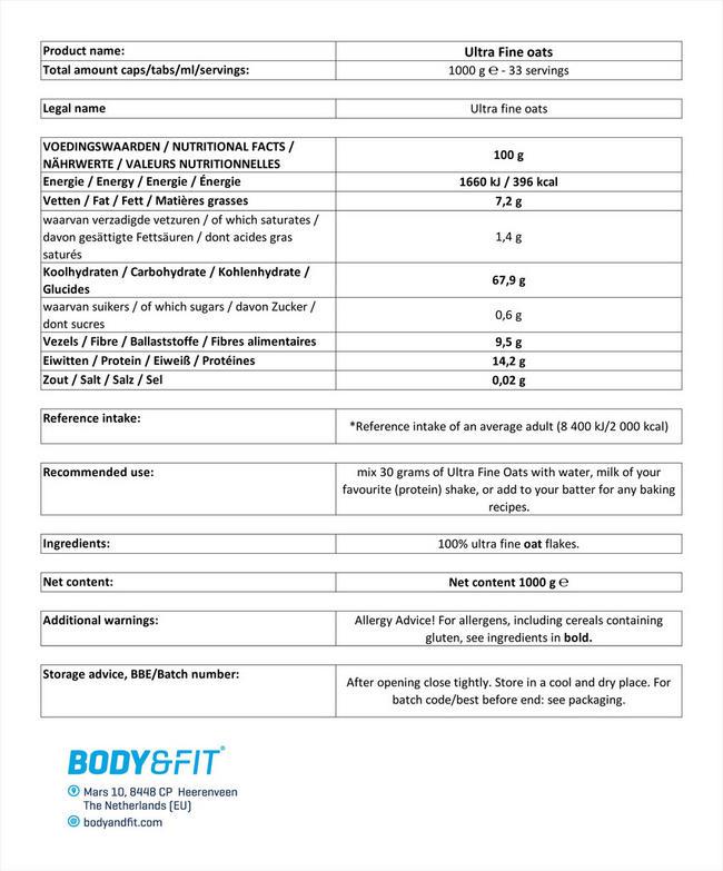 ウルトラファイン オーツ Nutritional Information 1