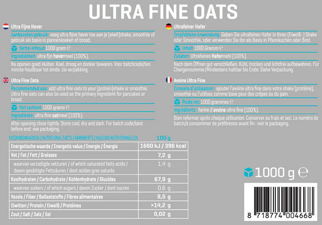 Ultra Fine Oats Nutritional Information 1