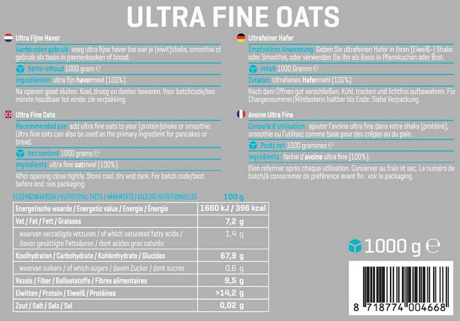 Ultra Fine Oats Nutritional Information 1