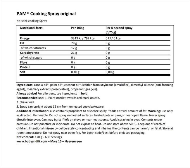 Cooking Spray Original Nutritional Information 1