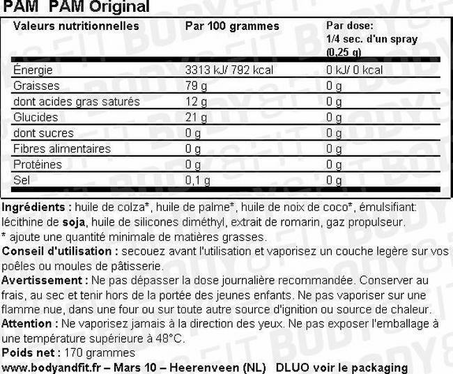 PAM Spray Cuisson - Original Nutritional Information 1