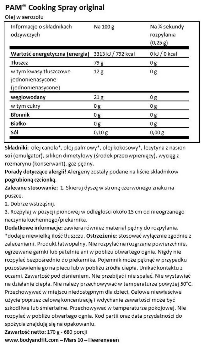Cooking Spray Original Nutritional Information 1