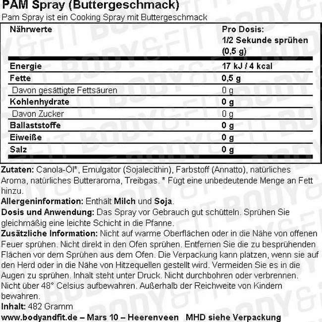 Cooking Spray (Buttergeschmack) Nutritional Information 1