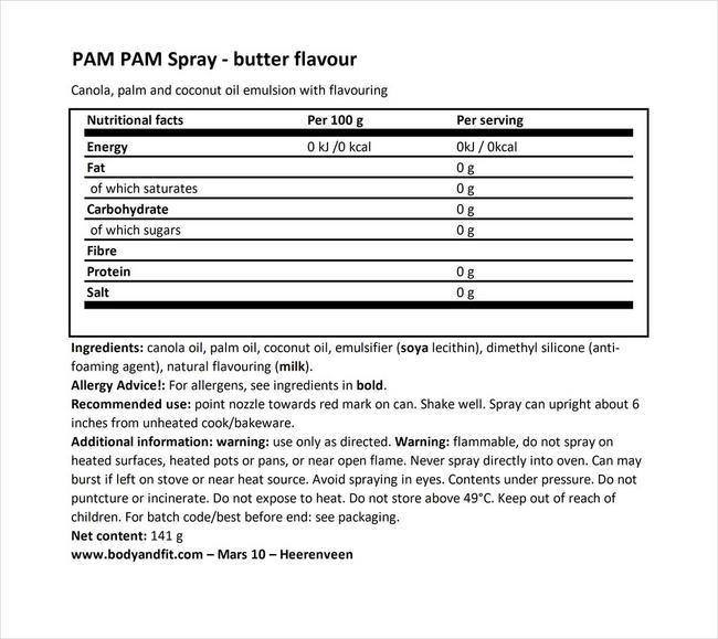 Cooking Spray (butter flavor) Nutritional Information 1