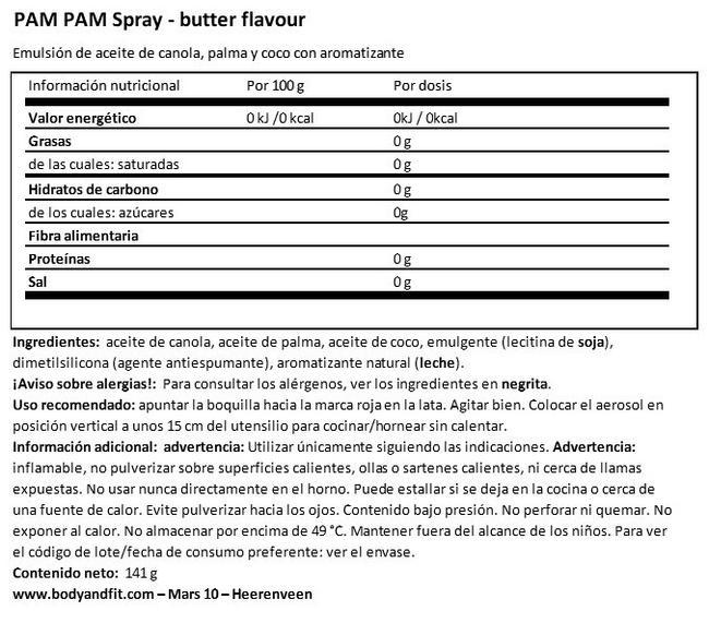 Spray para Cocinar (Sabor a Mantequilla) Nutritional Information 1