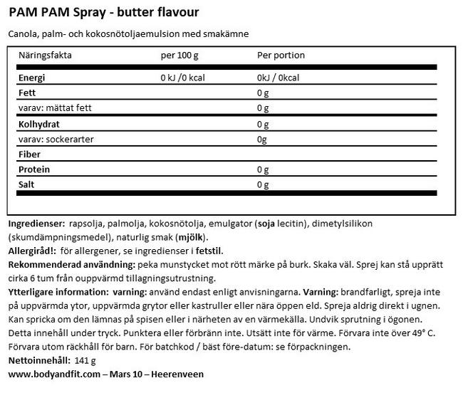 Cooking Spray (butter flavour) Nutritional Information 1
