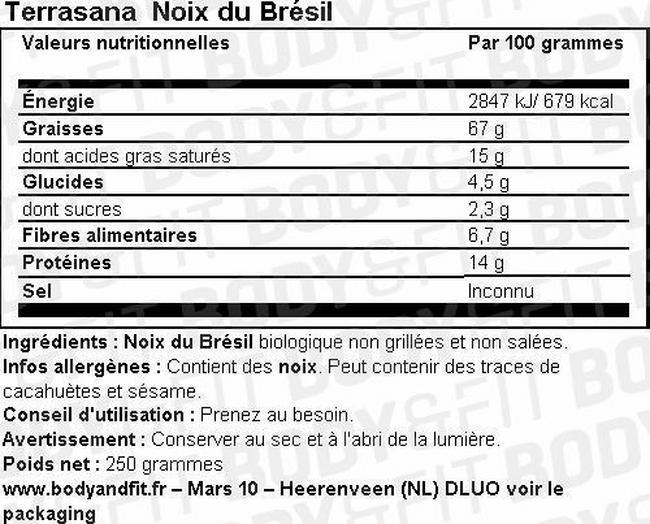 Noix du Brésil Nutritional Information 1