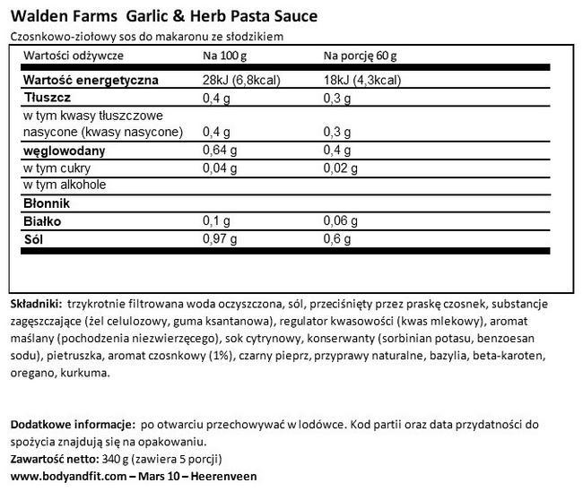 Sos do makaronu Nutritional Information 1