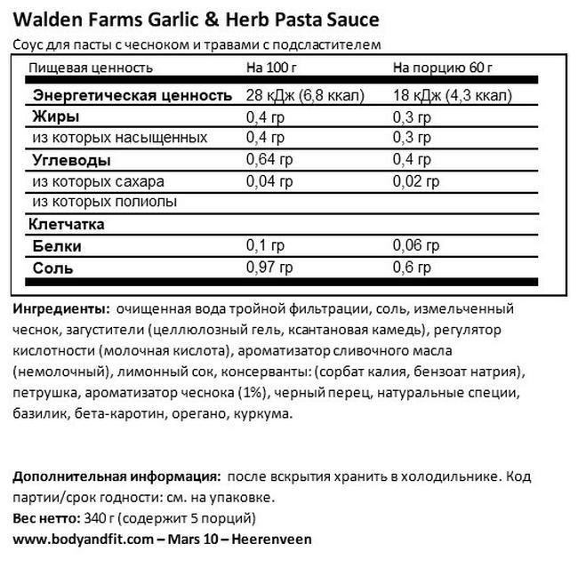 Pasta sauce Nutritional Information 1