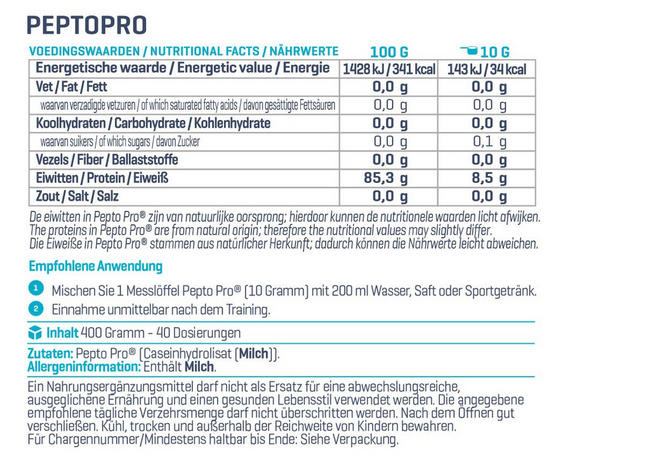 PeptoPro Nutritional Information 3