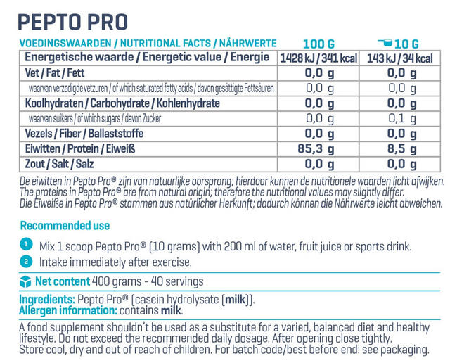 PeptoPro Nutritional Information 4