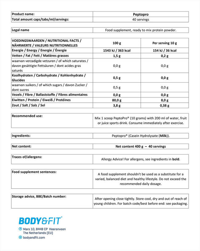 펩토프로 Nutritional Information 1