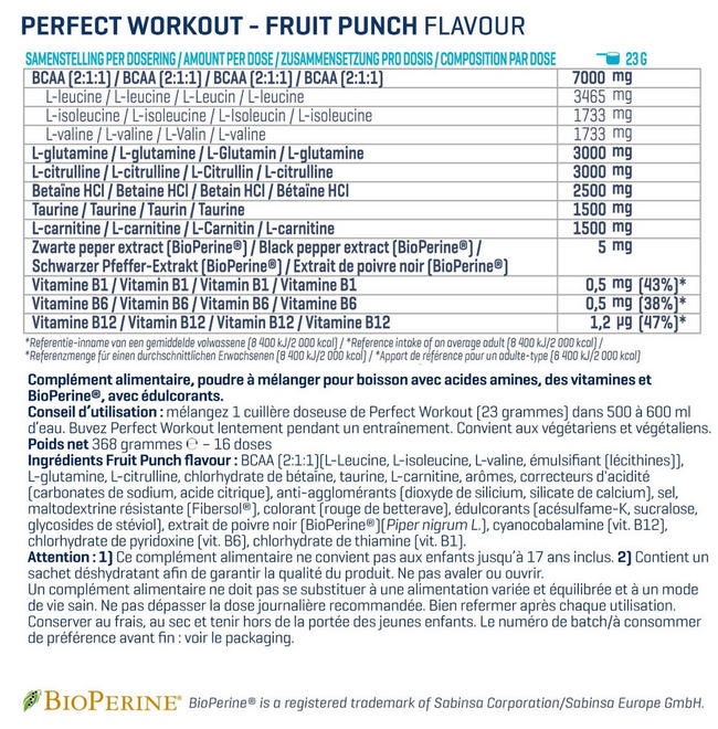 Poudre Perfect Workout Nutritional Information 1