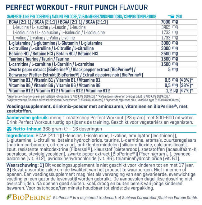 Perfect Workout Nutritional Information 1