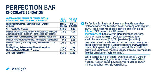 Perfection Bar Nutritional Information 1