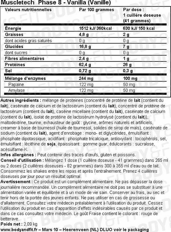 Poudre de protéine Phase 8 Nutritional Information 1