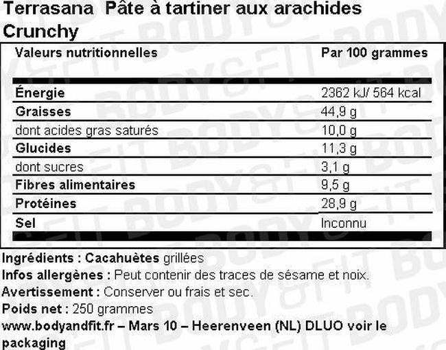 Pâte à tartiner aux arachides Crunchy Nutritional Information 1