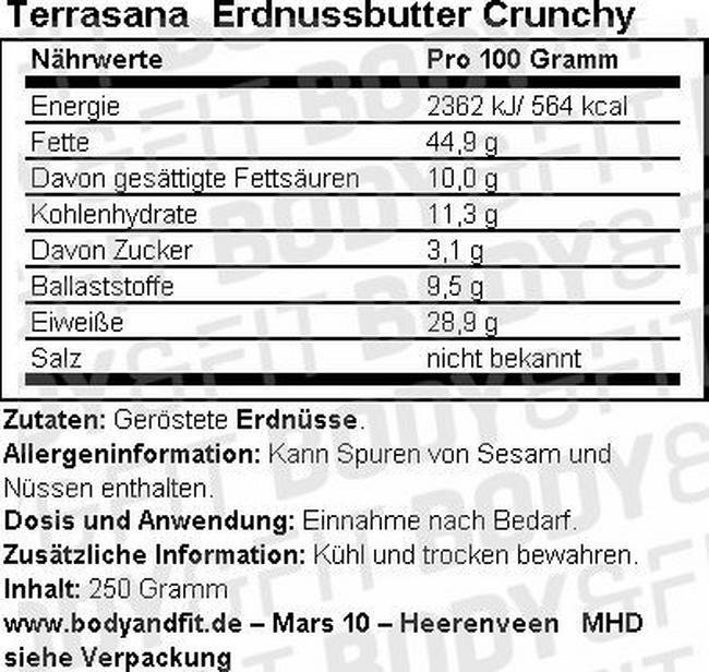 Pâte à tartiner aux arachides Crunchy Nutritional Information 2