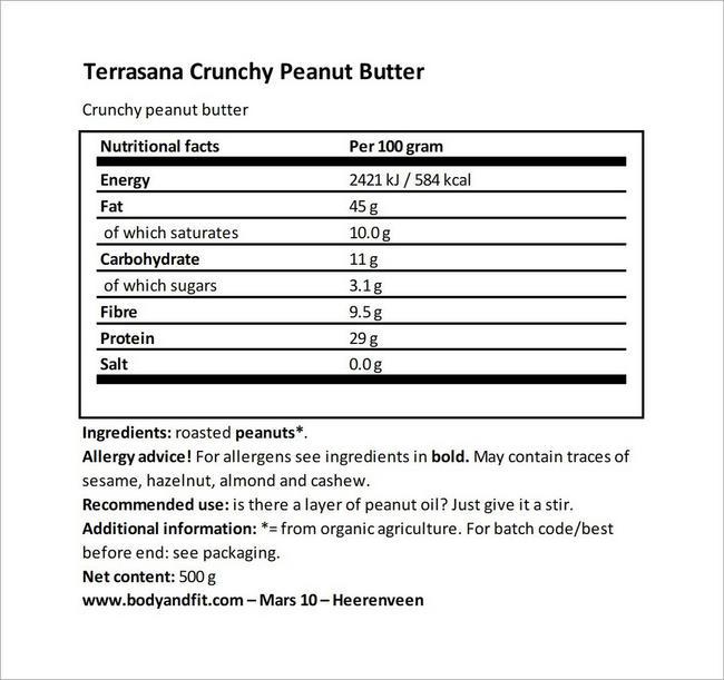 Pâte à tartiner aux arachides Crunchy Nutritional Information 3