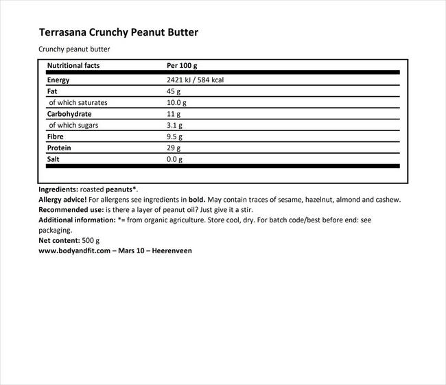Crunchy Peaenutbutter Nutritional Information 1