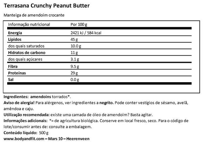 Manteiga de amendoim crocante Nutritional Information 1