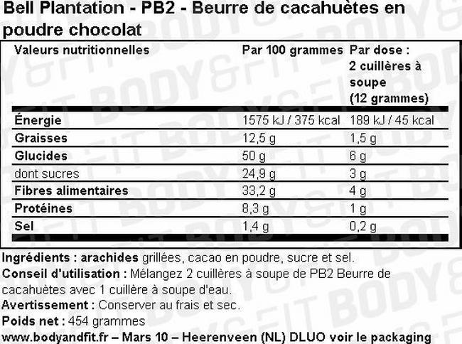 PB2 - Beurre de cacahuètes en poudre avec chocolat de haute qualité Nutritional Information 1