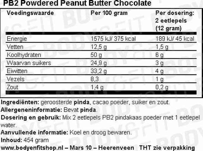PB2 - Beurre de cacahuètes en poudre avec chocolat de haute qualité Nutritional Information 2