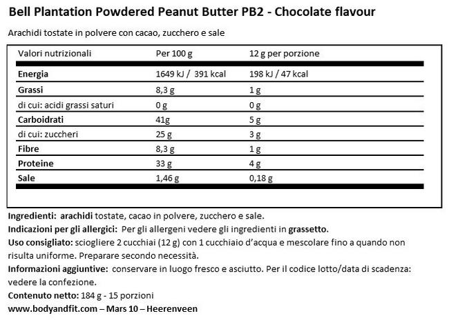 Burro d'Arachidi in polvere con Cioccolato Premium - PB2 Nutritional Information 1
