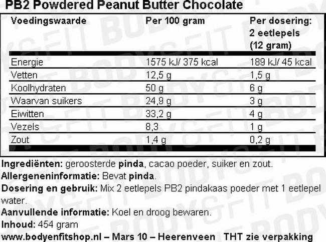 Pindakaas poeder met premium chocolade - PB2 Nutritional Information 1