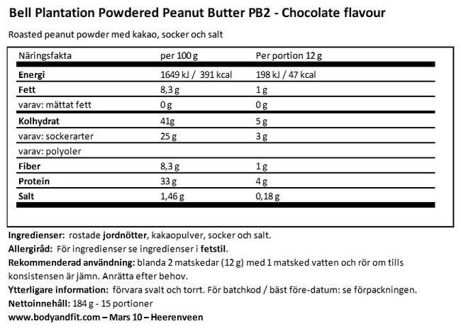Jordnötssmör med premiumchoklad Nutritional Information 1