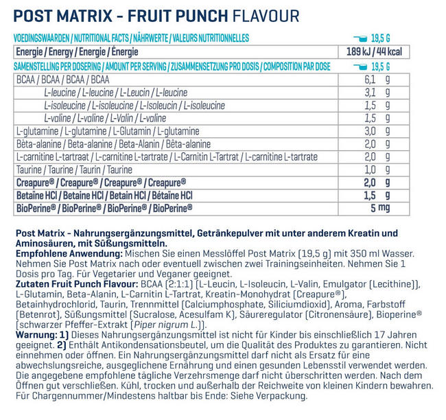 Post Matrix Nutritional Information 1