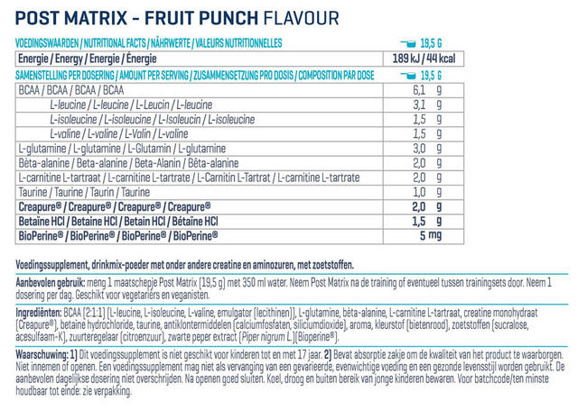 Post Matrix Nutritional Information 1