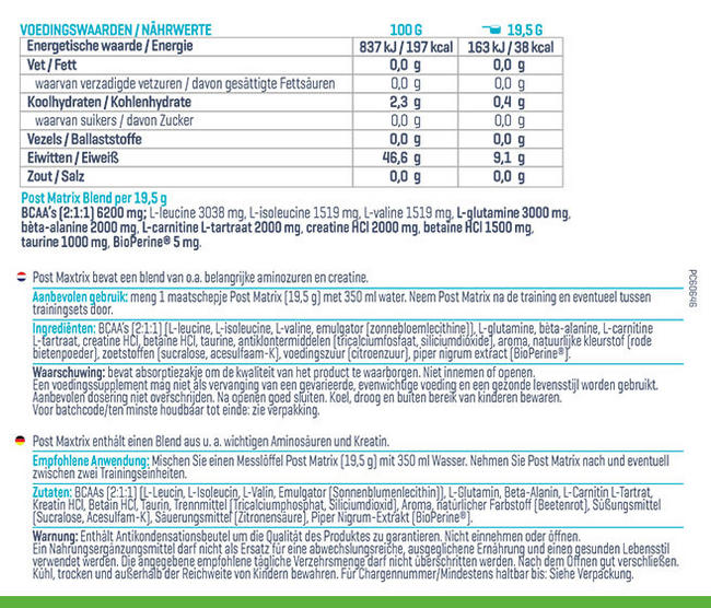 Post Matrix Nutritional Information 2