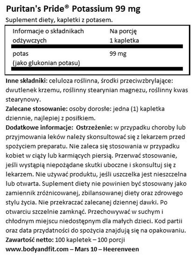 Potas 99 mg Nutritional Information 1