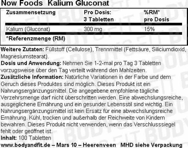Kaliumgluconat (potassium gluconate) Nutritional Information 1