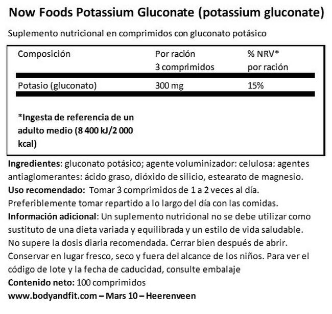Potassium Gluconate Nutritional Information 1