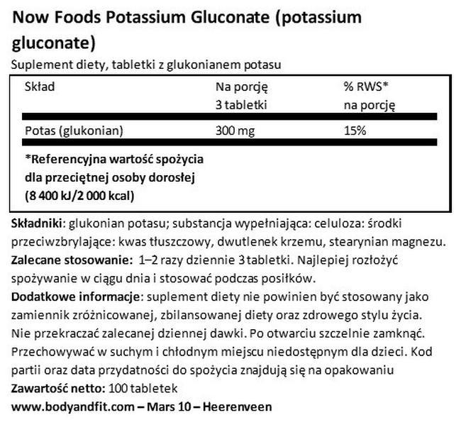 Glukonian potasu Nutritional Information 1