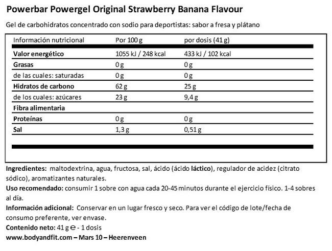 PowerBar PowerGel Nutritional Information 1