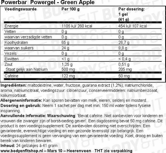 Powerbar PowerGel Nutritional Information 1