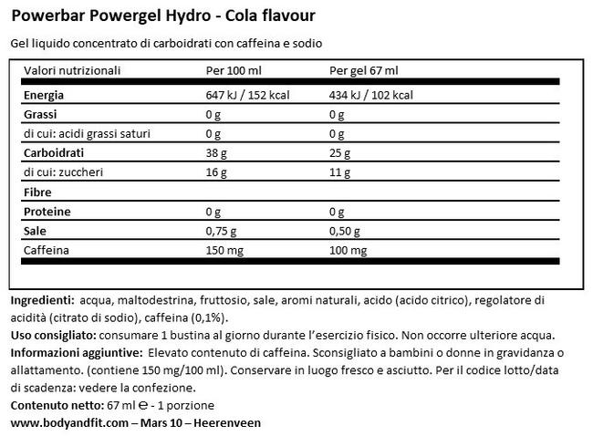Powergel Hydro Nutritional Information 1
