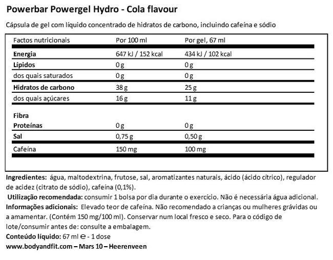 Powergel Hydro Nutritional Information 1