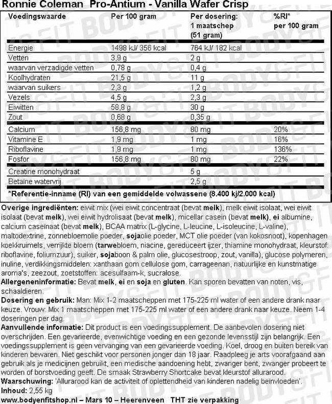 Pro Antium Nutritional Information 1