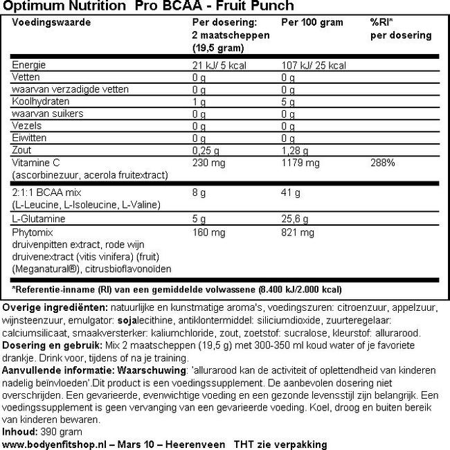 Pro BCAA Nutritional Information 2
