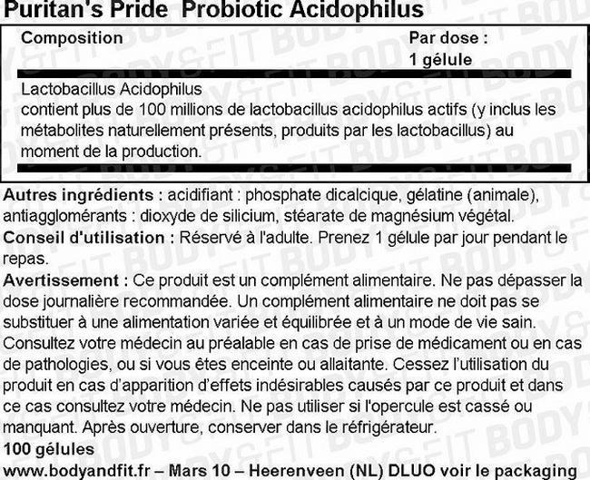 Bactéries bénéfiques aux intestins Probiotic Acidophilus Nutritional Information 1