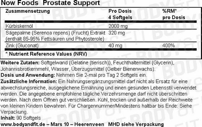Prostate Support Nutritional Information 1