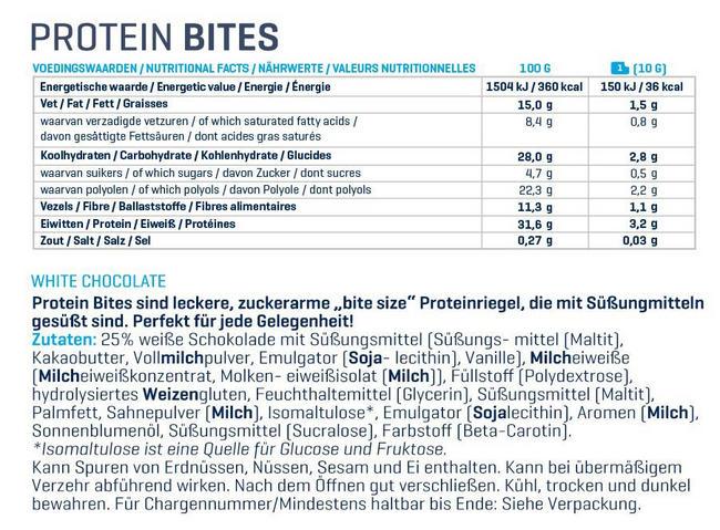 Protein Bites Nutritional Information 2