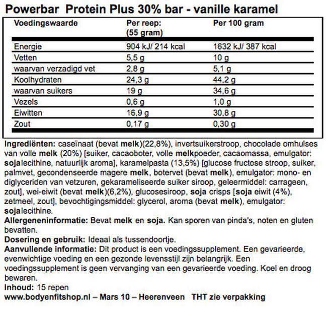 Protein Plus Bar 30% Nutritional Information 1