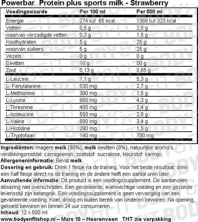 Protein Plus Sports Milk Vanille Nutritional Information 1
